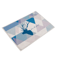 Deer Head Pattern MAT Square Cushion Kitchen Door Pad Bathroom Non Slip Remove Dust Door Mats