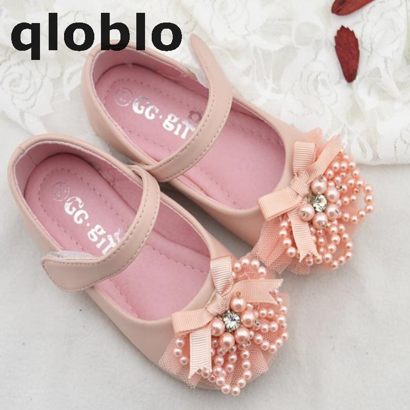 2018 Girls Princess Leather Shoes Children Girls Shoes New Autumn Winnter Fashion Single Shoes with Big Bowtie Size 19-34