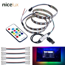 Dream Color LED TV Backlight WS2812B, Addressable Pixel Strip IC Control RGB Chasing Lighting with USB 5V Controller and Remote