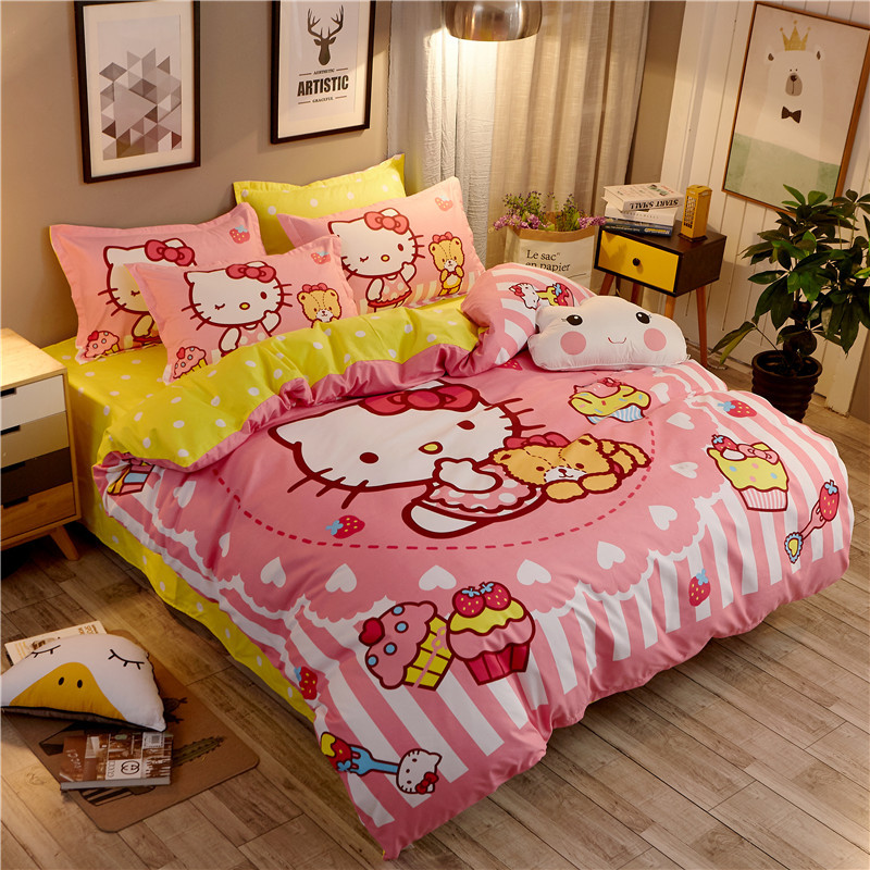 Bedding Set cotton Lovely cartoon English color sanding Hello Kitty 4pcs/3pcs Duvet Cover Sets Bed Sheet Set PillowcaseBedding Set cotton Lovely cartoon English color sanding Hello Kitty 4pcs/3pcs Duvet Cover Sets Bed Sheet Set Pillowcase