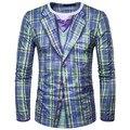2017 Primavera Nuevo Patrón Hombre Enrejado Verde Corbata Falso de Dos Piezas de Moda de Manga Larga Cuello Redondo 3DT Camiseta El Envío libre