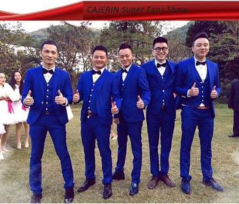 Classic Style One Button Royal Blue Groom Tuxedos Men's WeddingBlazer Prom Suits Custom Made (Jacket+Pants+Vest+Tie) K:392