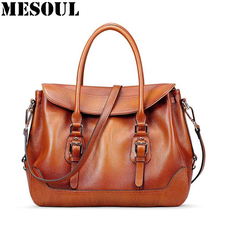 MESOUL Brand Handbags Genuine Leather Female Top-handle Bags Women Bags Vintage Luxury Shoulder Bag Large Capacity Messenger Bag caerlif brand genuine leather bag colorful stripe weave vintage national wind shoulder bags female bag women messenger bags