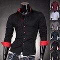 HoT Sale 2016 Mens Fashion Cotton Designer Cross Line Slim Fit Dress man Shirts Tops Western Casual S M L XL 2028