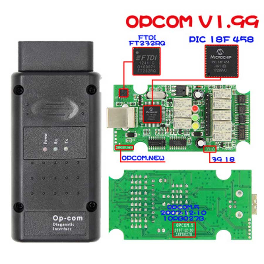 2019 Hotsale OPCOM 2014V V1.99 FTDI FT232RQ NEW <font><b>OP</b></font> <font><b>COM</b></font> 120309a for OPEL Car Diagnostic Scanner <font><b>op</b></font>-<font><b>com</b></font> <font><b>1.99</b></font> with PIC18F458 Chip image
