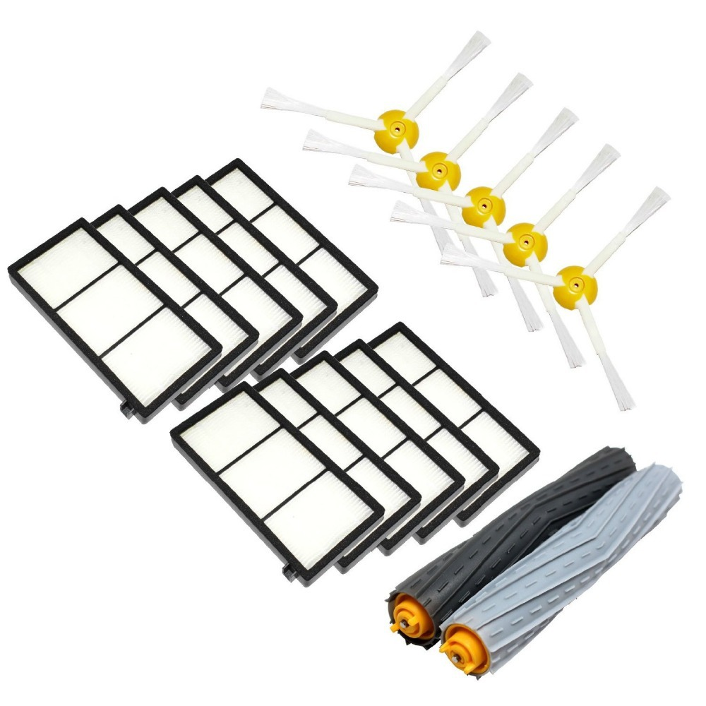 Tangle-Free Debris Extractor Set &Side Brushes &Hepa Filter For iRobot Roomba 800 series 870 880 980 Vacuum Cleaning Robots 2 set tangle free debris extractor 4 hepa filter 6 side brush fit for irobot roomba 800 900 series 870 880 980 cleaner parts