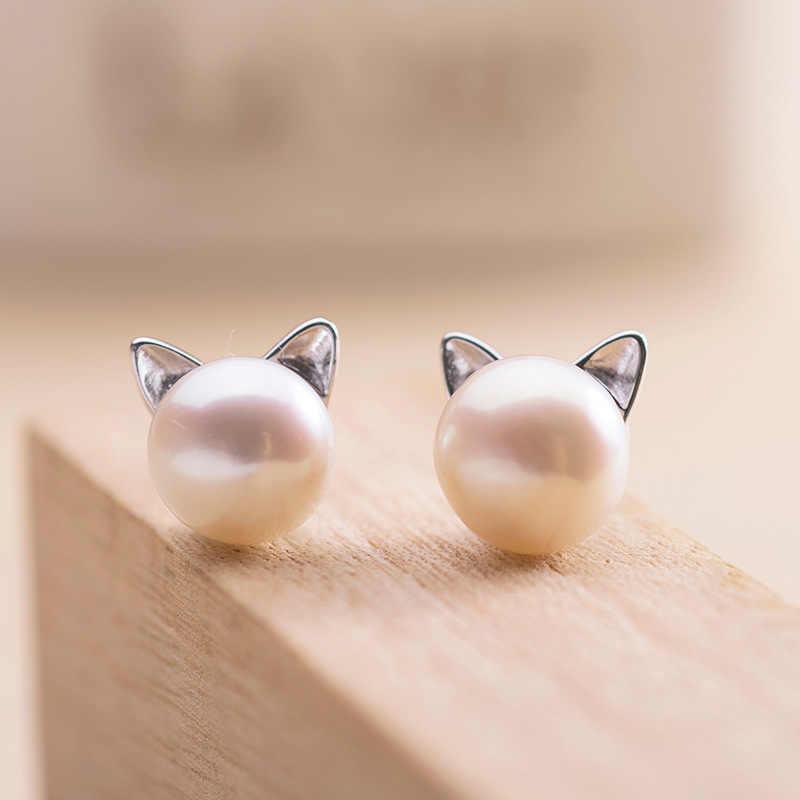 925 เงินสเตอร์ลิงHypoallergenic Pearl Cat Studต่างหูสำหรับผู้หญิงเครื่องประดับBrincos Bijoux Pendientes EH593