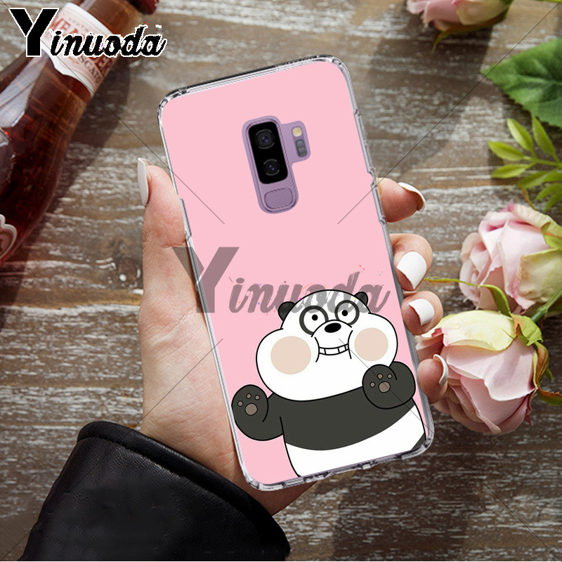 Yinuoda we bare bears lovely cartoon Black TPU Soft Phone Cover for Samsung S9 S9 plus S5 S6 S6edge S6plus S7 S7edge S8 S8plus
