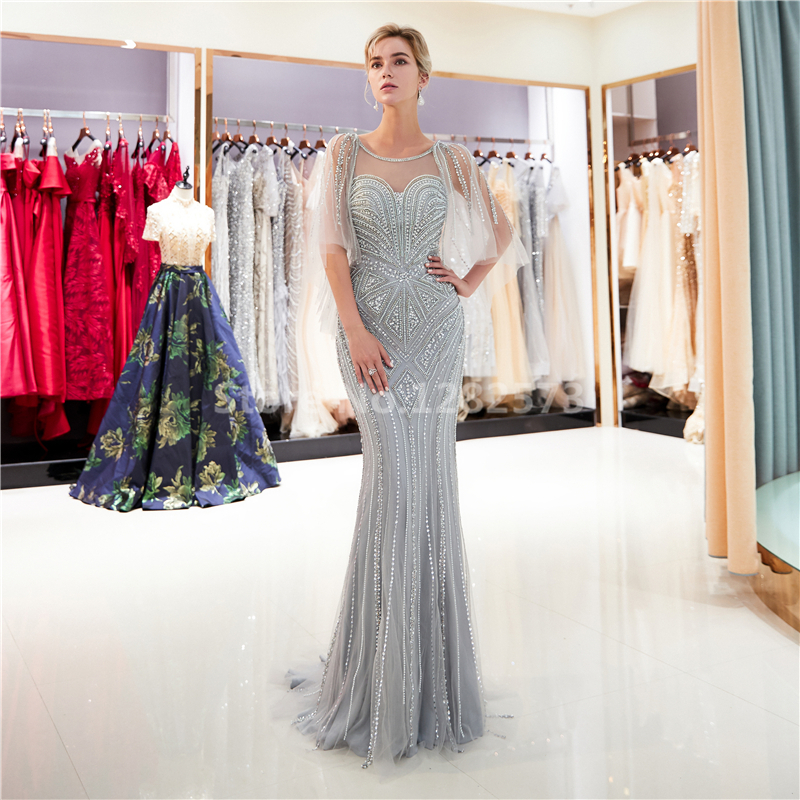 Gorgeous Gold Long Sexy Mermaid Evenig Dress with Cape Elegant Sparkly  Formal Dress Beaded Chic Luxurious Grey Women Party Gown 1545c03bd327