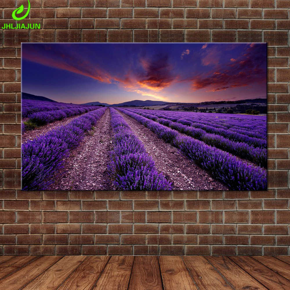 Canvas Lavender Field Poster Sunset Glow Purple Landscape Pictures Wall Art Painting Poster Provence Landscape Mural Home Decor