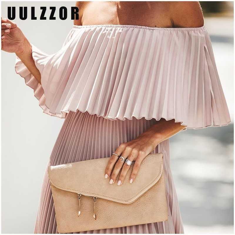 UULZZOR, плиссированное длинное платье с открытыми плечами, женское вечернее платье макси с рюшами, однотонные розовые осенние платья, элегантные 2019 Vestidos
