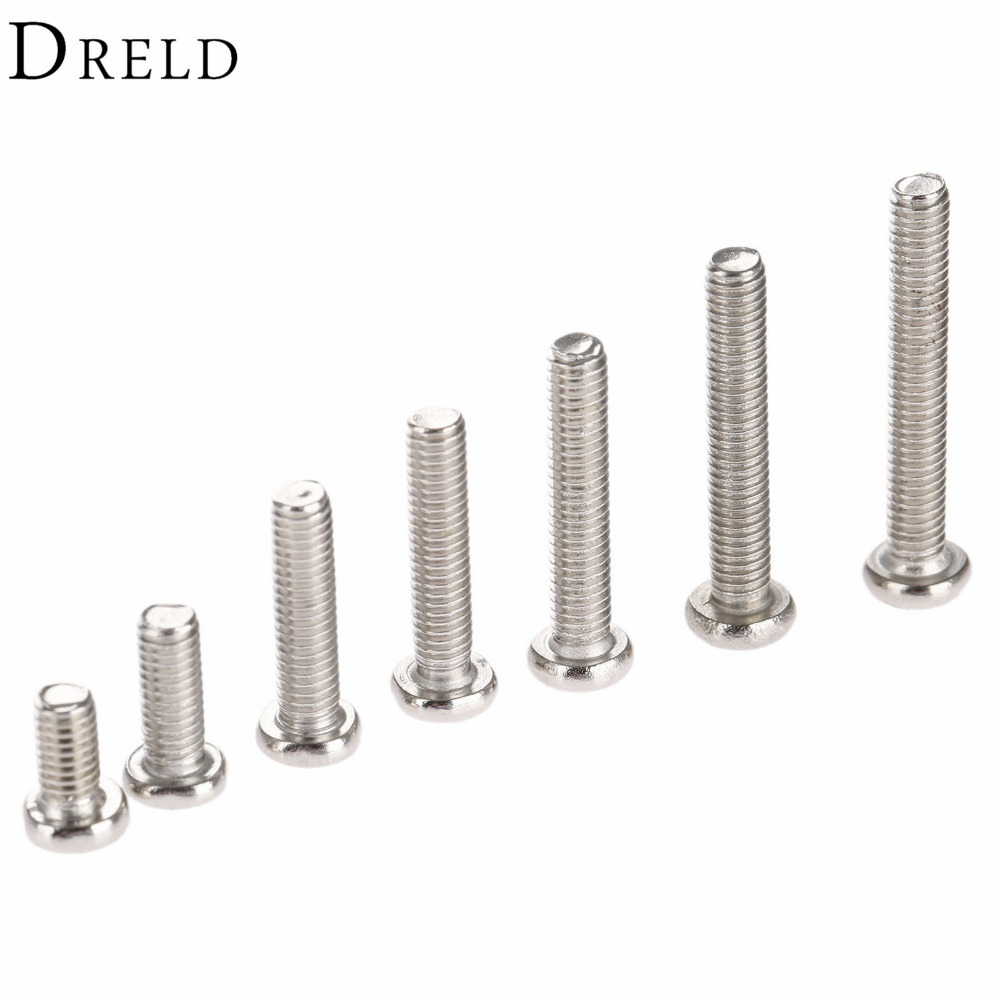 50Pcs M3 Stainless Steel Phillips Screws Cross Round Head Bolts Nuts Fasteners tornillos para madera M3 x6/8/12/14/16/18/20mm