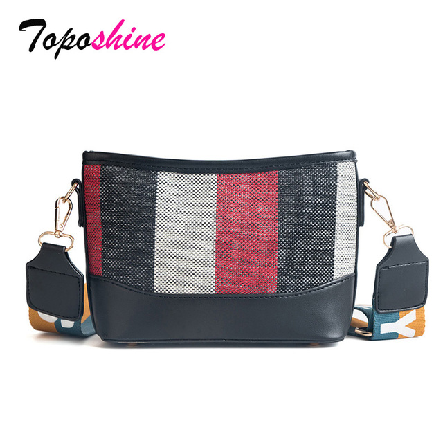 afd2daccec5a Bag Female 2018 New Korean Version of the Color Stitching Bucket Bag Wild  Stripes Wide Shoulder