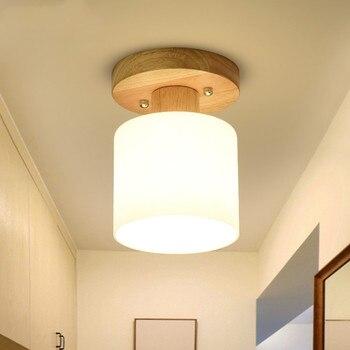 Drewniane Małe Lampy Sufitowe Okrągłe Szklane Przedpokój Przejściach I Korytarzach Korytarz Szatnia Ganek Lampa Sufitowa Domu E27 Oprawę Oświetleniową