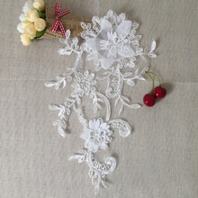 Handicraft Floral Embroidery Patches Lace Applique Collar Wedding Dress Accessories Fabric 10 Mirror(20 pcs) TT323