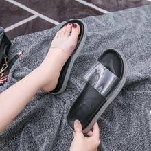 цена на RWHK 2019 summer women's shoes muffin bottom toe transparent film non-slip thick bottom versatile slippers B061