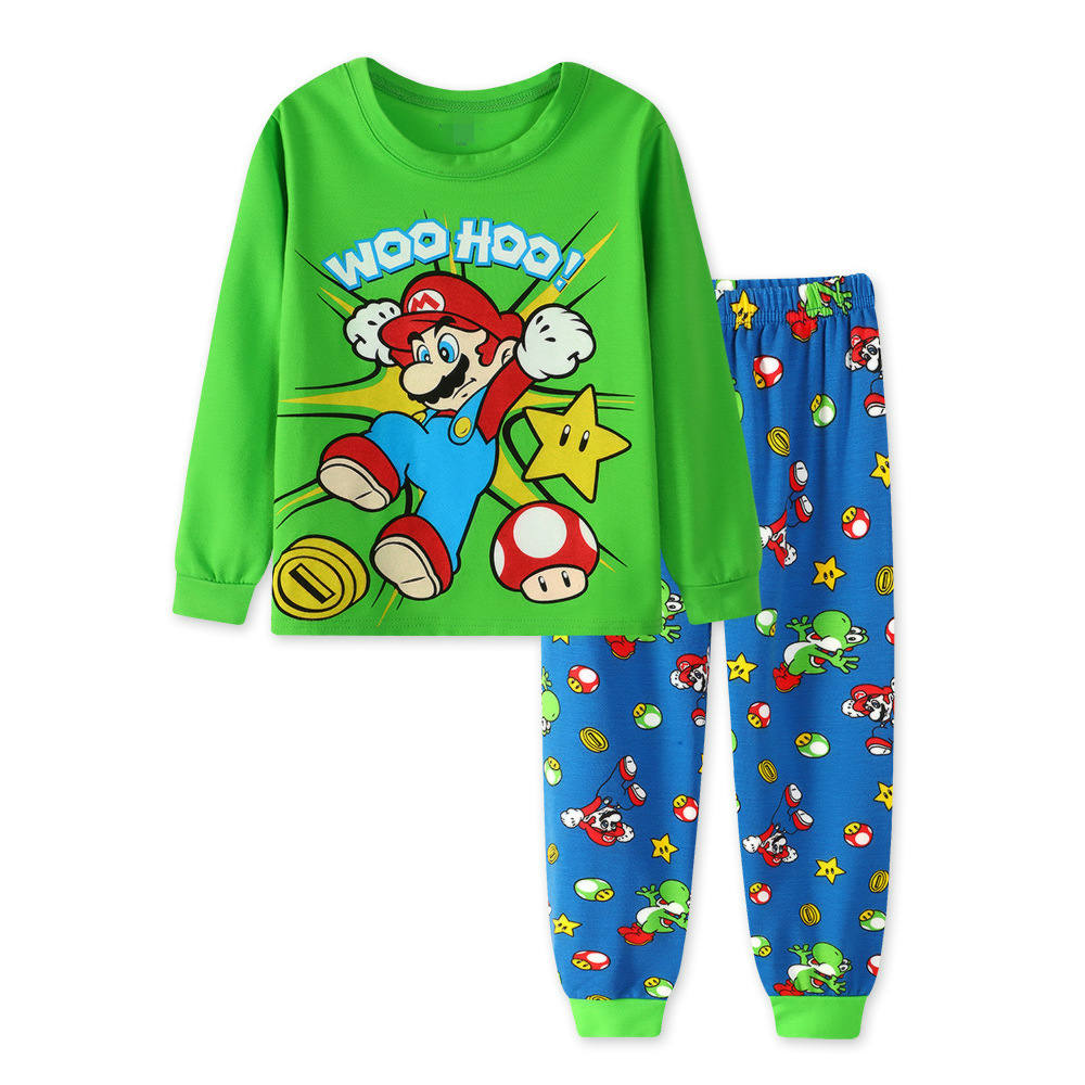 1f55ad37216 2018 New Casual Cartoon Cotton Super Mario Bros Children s Sets Boys Tops  Pants Long Sleeves Pants