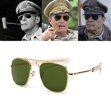 Moda vintage aviação ao óculos de sol dos homens marca de luxo designer óculos de sol para masculino exército americano militar lente vidro óptico