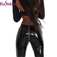 Brand New Womens Sparkling Leather Pants Zipper Faux PU Leather Leggings High Waist Skinny Leggings Black