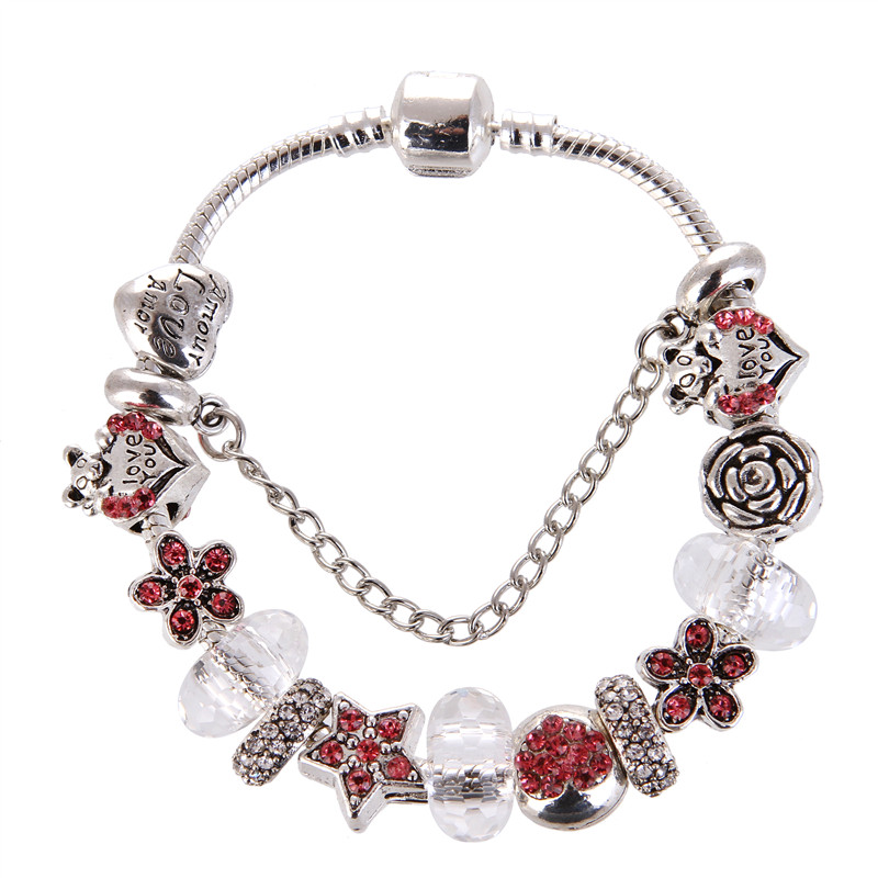 European Style Vintage Heart Pendant Silver plated White crystal Red Rhinestone Pandora Bracelet For Women/Gril gift jewelry