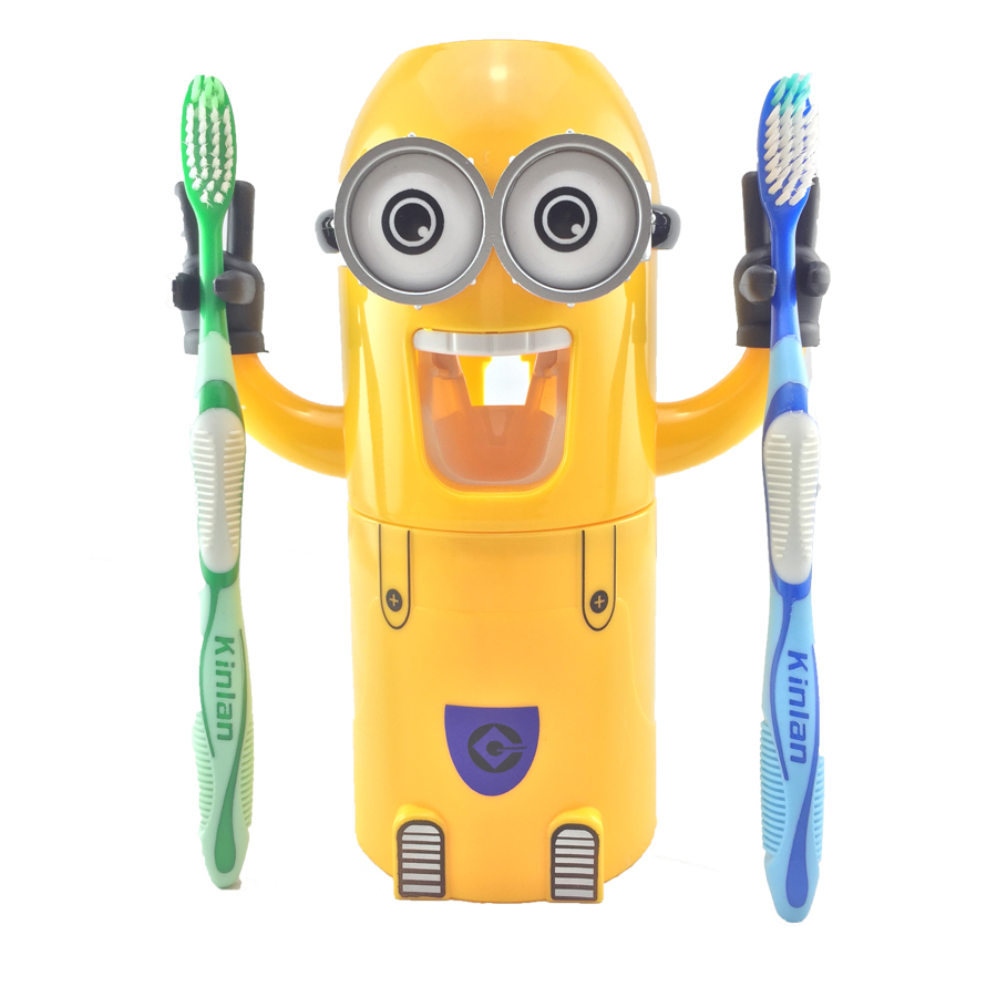 Bathroom Products Creative Minions Automatic Toothpaste Dispenser Wall Mount Toothbrush Holder for Kids Toothpaste Squeezer image