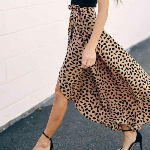 Womens Leopard Print Wrap over Aysmmetric Skirt High Waist Long Maxi Sexy Fashion