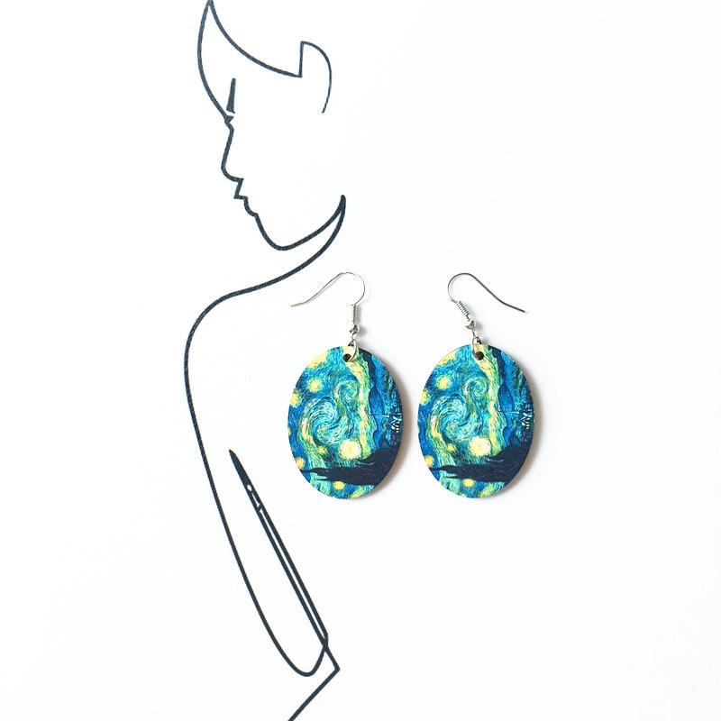Starry Night Famous Painting Wood Drop Earrings New Vintage Funny Renaissance Oil Painting Earrings Geometric Ear Drop