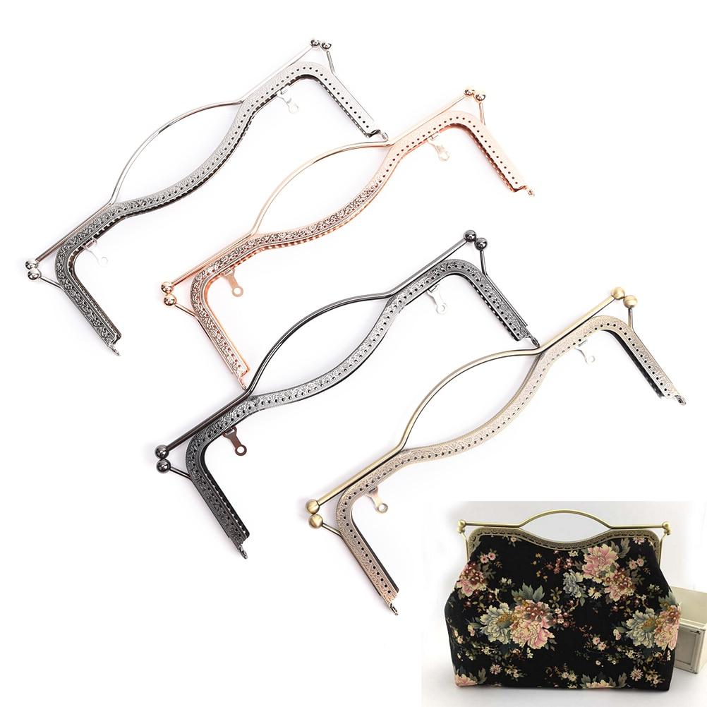 4 Colors 1pc Fashion Women Bags Handle Handbag Clasp Lock Arch Frame Accessories 27cm Metal DIY Coin Purse Bag Handle(China)