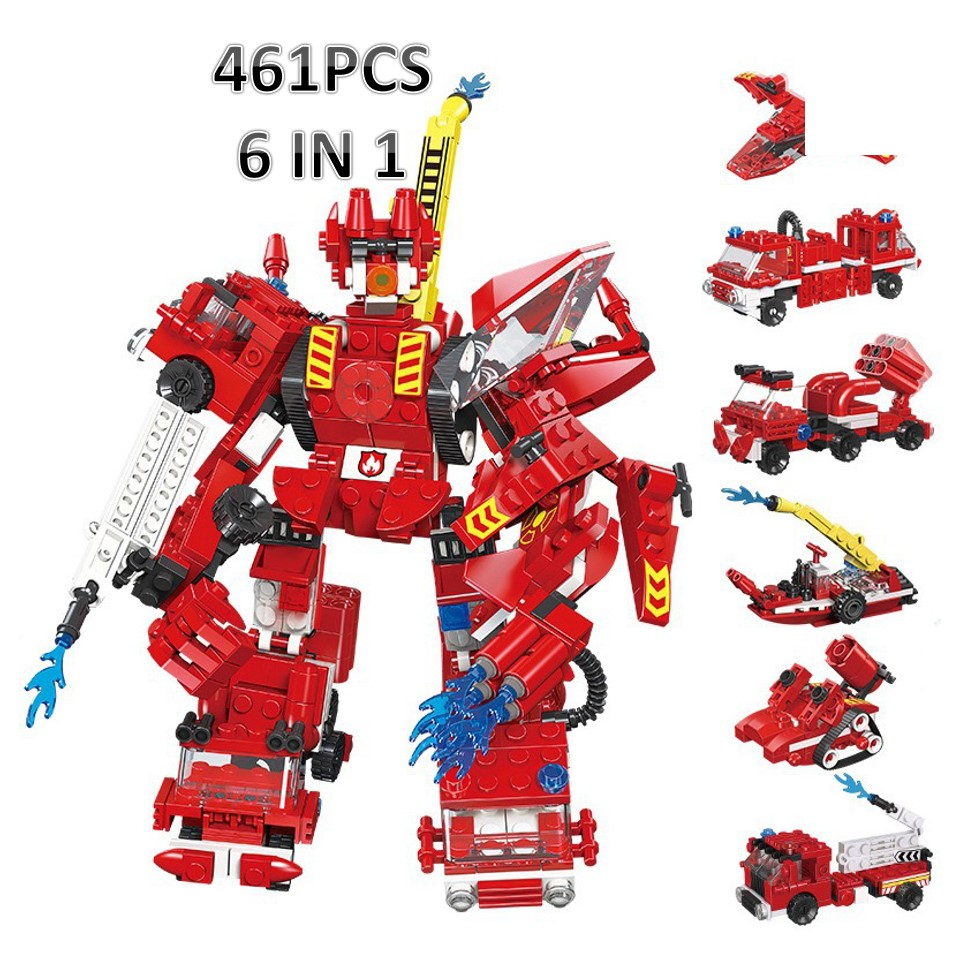 6in1 Legoed firefighting Robot Fire Ladder truck Building Blocks Bricks Legoed Educational Enlighten Children Toys