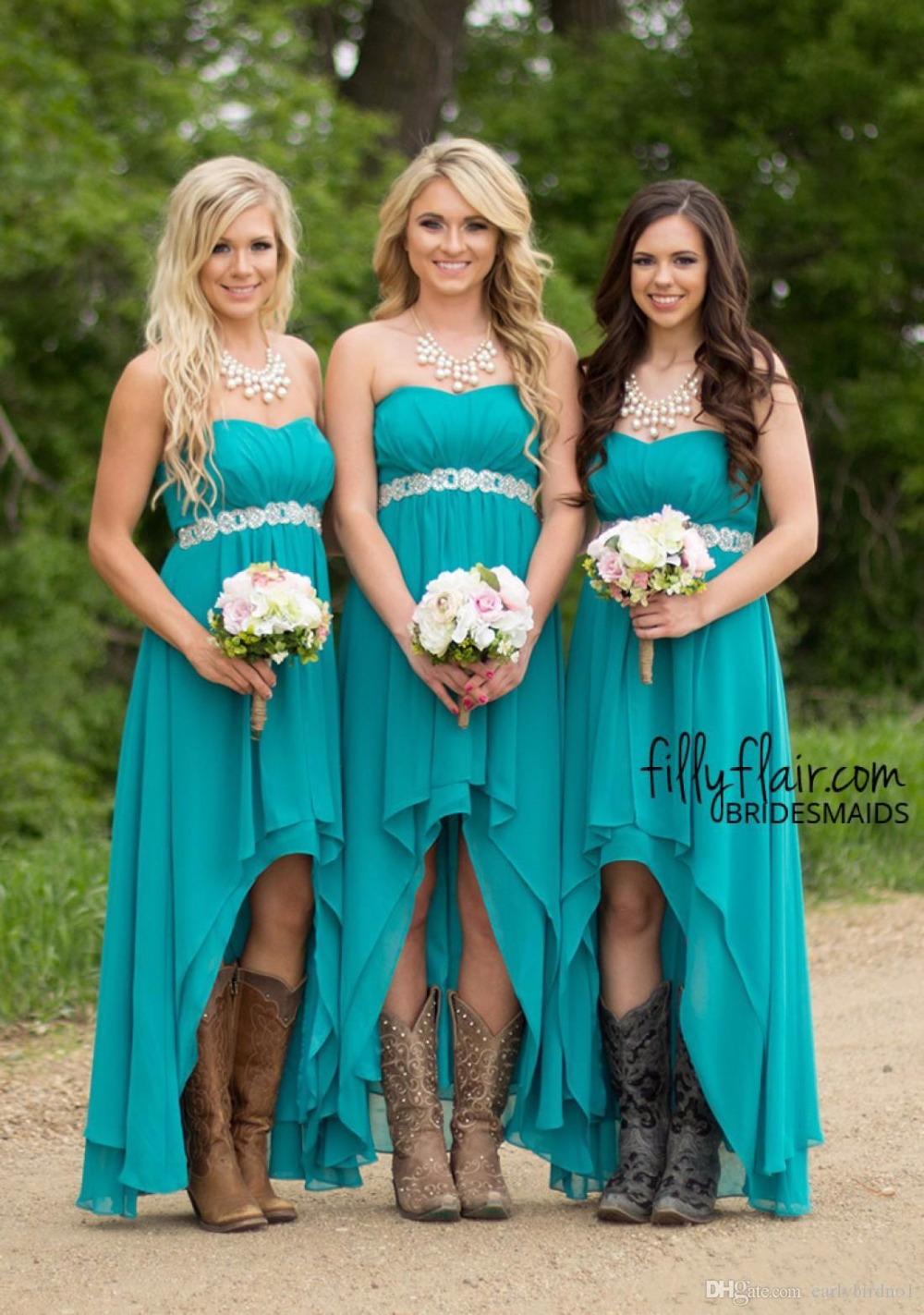 Cecelle 2019 Turquoise High Low Country Rustic Bridesmaid Dresses Strapless Cheap Chiffon Maid of Honor Gowns Custom Made Sale
