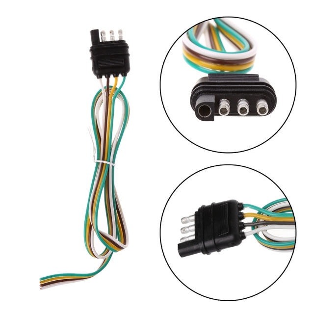 90CM Trailer Light Wiring Harness Extension 4 Pin Plug 18 AWG Flat ...