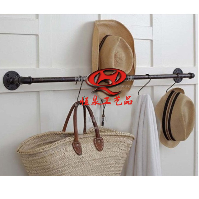 American Retro Loft Pipes Hanging Wall Coat Rack Clothing Rod For Clothes Hanger
