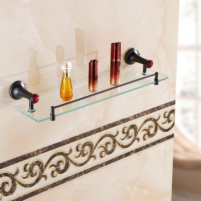 accessori per il bagno mensola di vetro pietra rossa pennello olio nero singolo ripiano in