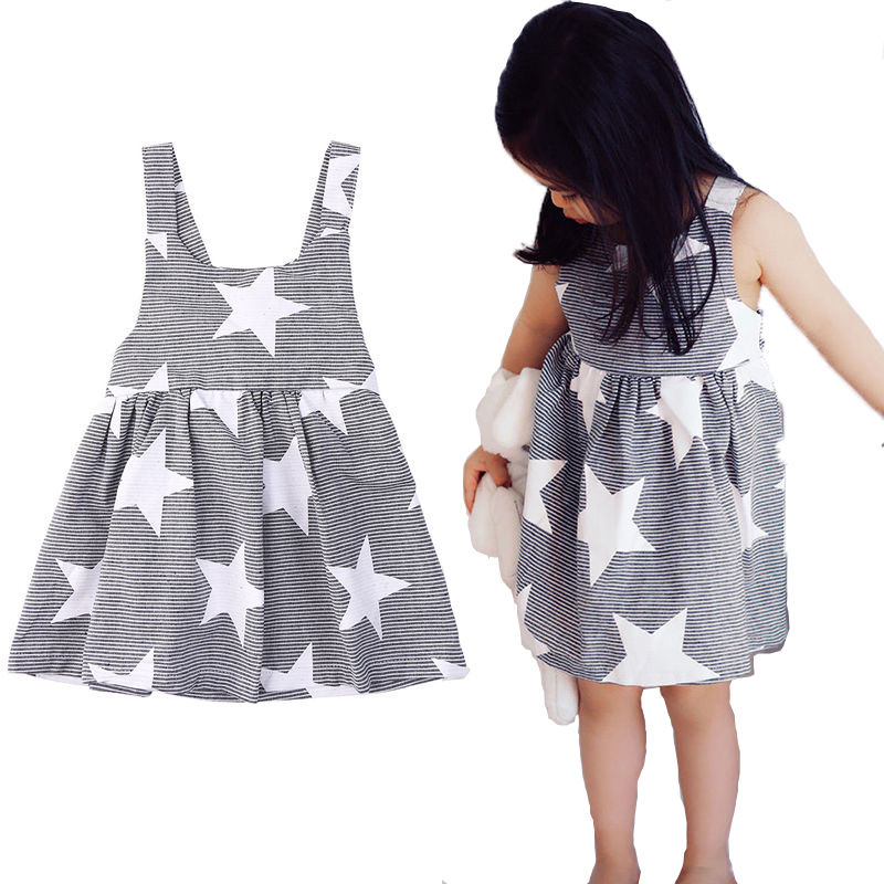 Infant Toddler Baby Kids Girls Stars Dress Niñas Star Wedding Birthday Party Vestidos del desfile