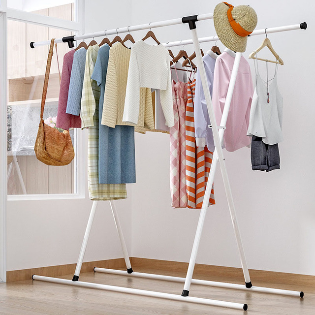 798fbf463fee US $47.51 12% OFF X Type Drying Rack Double Pole Folding Coat Rack  Telescopic Convenience Hanger Hat Rack Home Furniture-in Coat Racks from  Furniture ...