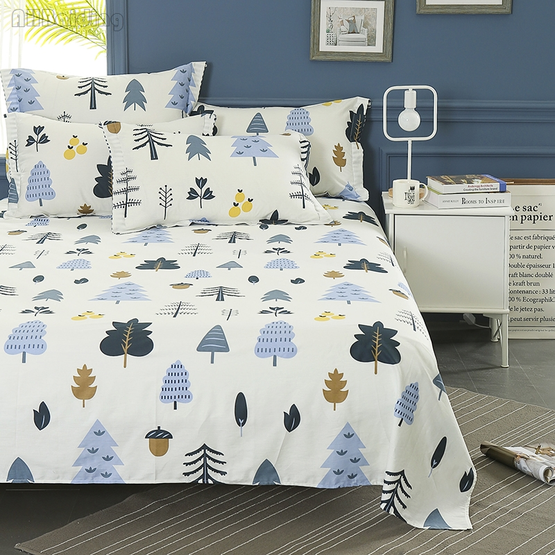 100% Cotton Bed Sheet for Adult/Kids Winter Forest Series Flat Sheet Mattress Cover Protector Twin Full Queen King Size Hot Sale