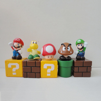 50 PCS=10 Set/Lot Super Mario Bros Mario Luigi mushroom Goomba Toad Yoshi PVC Action Figures Toy Collectible Model children gift