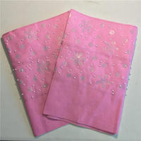 African lovely pink Aso Oke Gele Fabric for Head Shoulder Nigeria Headtie Wrapper AsoOke with stones and beads