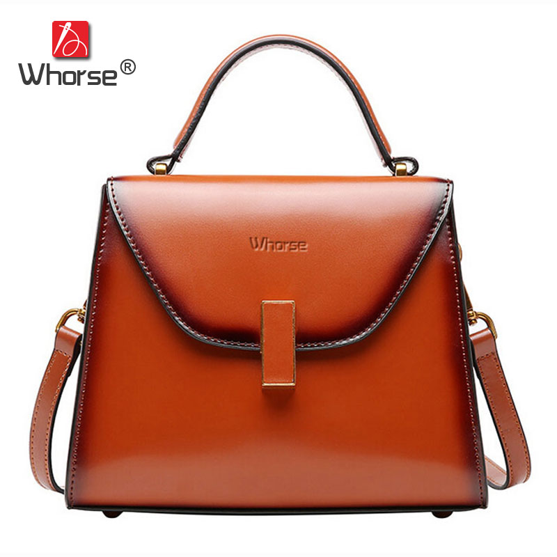 [WHORSE] Brand Women Genuine Cow Leather Handbag Vintage High Quality Real Cowskin Cowhide Shoulder Bag Messenger Bags W08950 [whorse] brand luxury fashion designer genuine leather bucket bag women real cowhide handbag messenger bags casual tote w07190