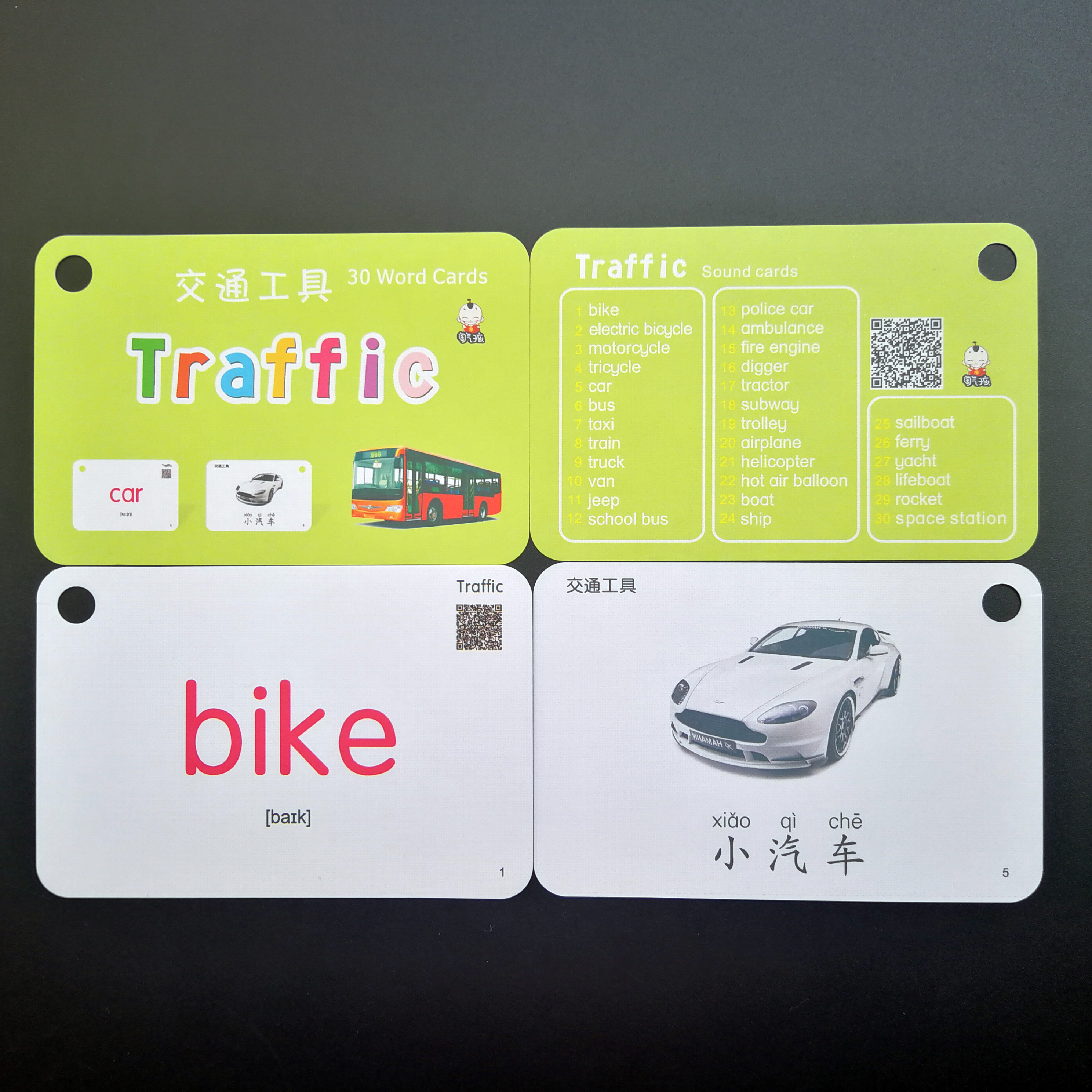 32PCS Traffic English Chinese Word Pocket Card FlashCards Montessori early Educational Learning Toys Children kids Baby Gifts