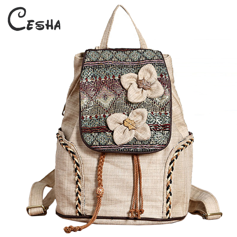 Cesha Luxury Knitting Floral Design Women's Backpack High Quality Linen Material National Embroidery Shopping Travel Backpacks