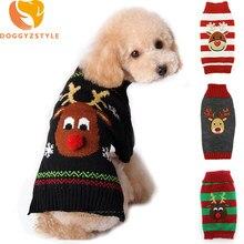 06cc7ba208d19 Noël Pet chien vêtements renne Design pull pour petits chiens noël chaud  chiot manteau Chihuahua tricots pull élans Costumes