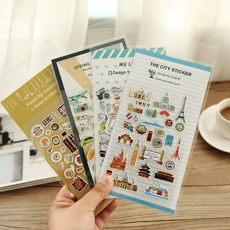 1pcs Japanese Vintage travel life Food Stickers paper pvc Handbook diary decoration sticker Stationery  School supplies set 7165