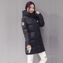 Теплое вниз slim зимние капюшоном куртки куртка повседневная длинным пальто рукавом