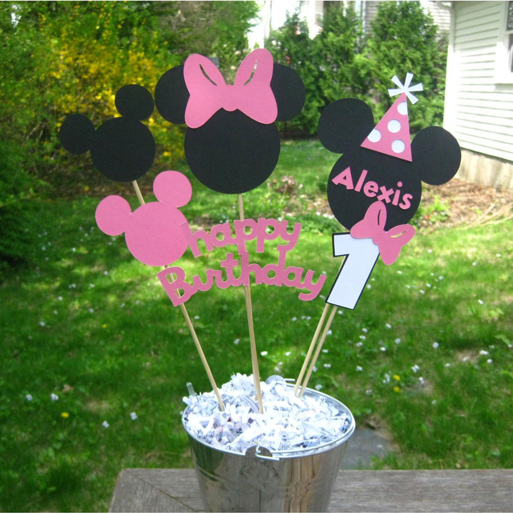 Pink Mouse Birthday Table Centerpiece 1st Birthday Table Decorations Mouse Party Decoration Birthday Party Decoration Supplies Party Diy Decorations Aliexpress