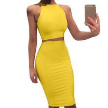 2019 Women Sexy Halter Bodycon Dress Suit Fashion Solid Wrap Two-Piece Casual Summer Sleeveless Club