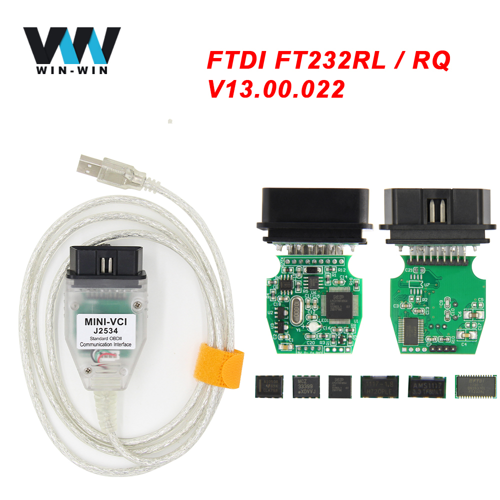 V13.00.022 MINI VCI For TOYOTA TIS Techstream Minivci FTDI For J2534 OBD OBD2 Car Diagnostic Automotive Tool Auto Scanner Cable(China)