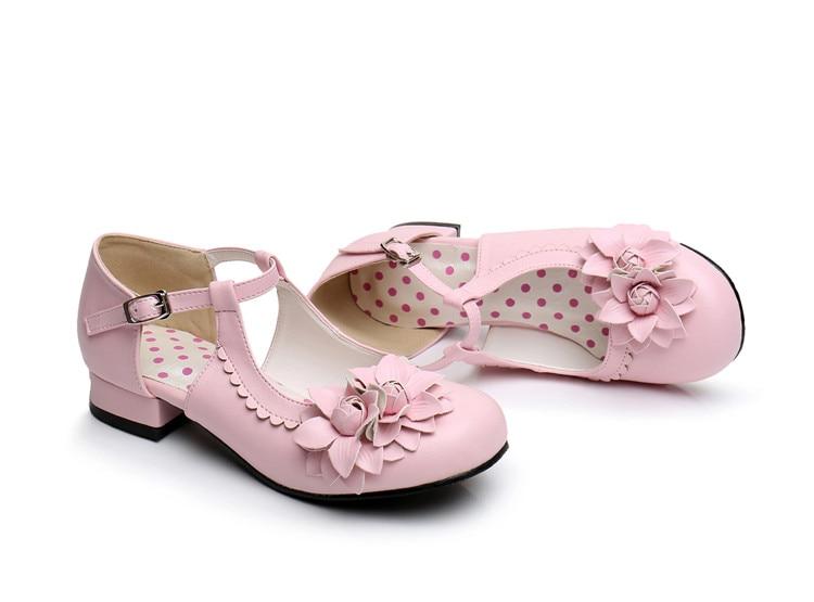 abadd600403f ღ ღFemmes Élégant Mary Jane Chaussures Bas Talon PU En Cuir Fleur ...