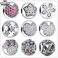 Authentic 100 925 Sterling Silver Charm Love Heart Stars Small Daisies Beads Fits Bracelet DIY Making