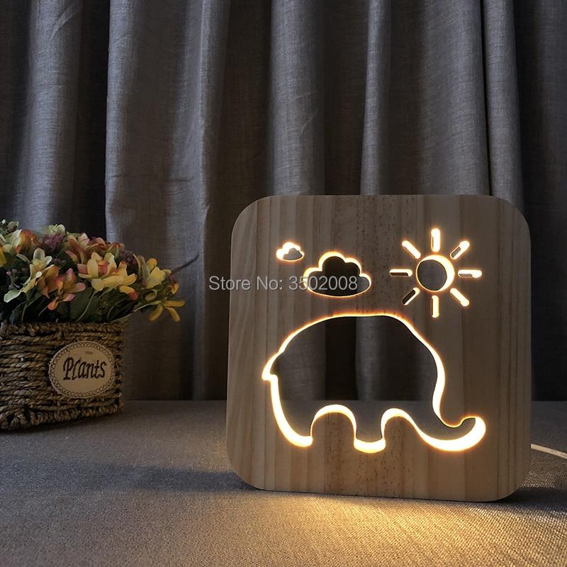 creative Wood carving Night light Cartoon elephant design LED USB Power lamp as gift or decoration
